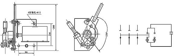 (1)、隔离开关是由三个单独的单极隔离开关组成的三相电器。分有不接地,动触头接地、静触头接地三种结构形式。每个单极隔离开关都具有相同的组成部分,如底座支柱及操作绝缘子前后静触头,闸刀及弧角等。其外形及主要尺寸见表2。 a. 基座:基座系由4.5mm厚的软钢板弯成,带拉臂的轴横穿其中部,基座上钻有孔,以备固定支柱绝缘子,装接地螺钉和在安装时固定每极之用,顶部有槽孔为拉臂而设; b.